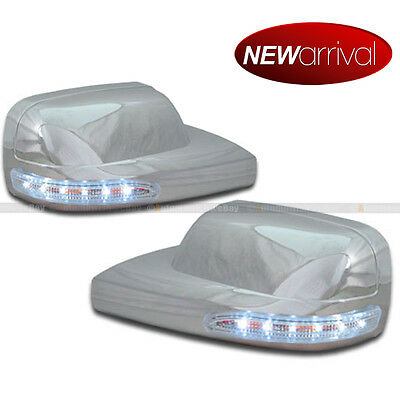 - Fit 05-08 Mustang Chrome Side Mirror Cover w/ White LED Signal Lights
