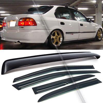 For 96-00 Honda Civic 4DR Sedan Mugen Style Wavy Window Visor + Rear Roof Visor