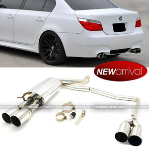 Fit: 05-07 E60 M5 Style Stainless Steel Catback Axle Back Exhaust Muffler