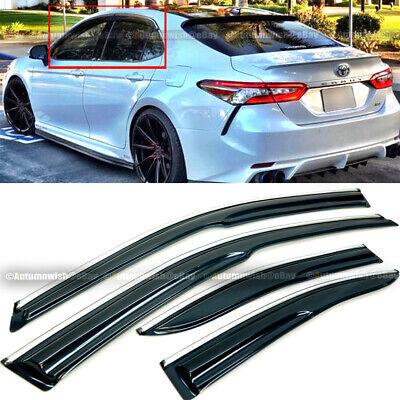 For 18-20 Toyota Camry Sport JDM Mugen Style 3D Wavy Chrome Trim Window Visor