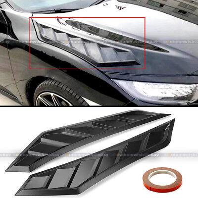 For A4 A3 Pair Flexible JDM Decor Long Ver Hood Bonnet Vent Cover Flat Black
