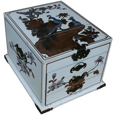Mirrored Jewel Box -  White Peacock Gilted Painted Box New (MB-L3W-PK)