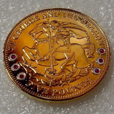 2009 Tristan da Cunha GOLD PL 92.5% Ag  5 pounds St.George & the Dragon PROOF