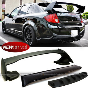 Fit 05-10 Cobalt 4DR Sedan Roof Visor + Rear Diffuser + Trunk Spoiler Combo