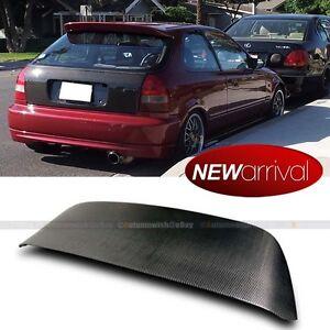 For 96-00 Civic 3DR EK9 Spoon Style Full Carbon Fiber Trunk Spoiler Roof Wing