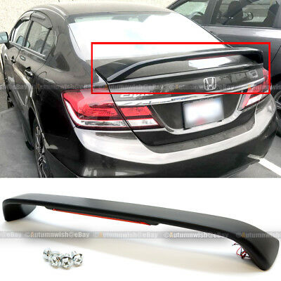 Honda Civic Hybrid Trunk - For 13-15 Honda Civic 4DR SI Unpainted Trunk Spoiler Wing LED Brake Light Lamp