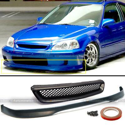 Fits 99-00 Honda Civic EK 2DR 3DR 4DR T-R Style Front Bumper Lip + Mesh - 99 00 Honda Civic Body