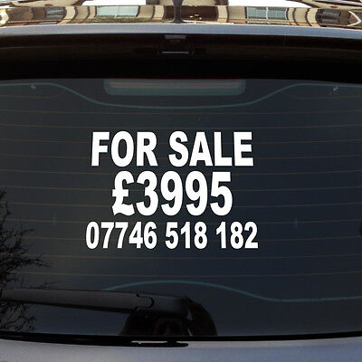 FOR SALE / PRICE / PHONE NUMBER CUSTOM CAR/VAN/WINDOW VINYL SIGN DECAL STICKER