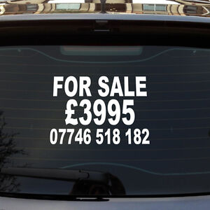 for sale price phone number custom car van window vinyl sign decal sticker. Black Bedroom Furniture Sets. Home Design Ideas