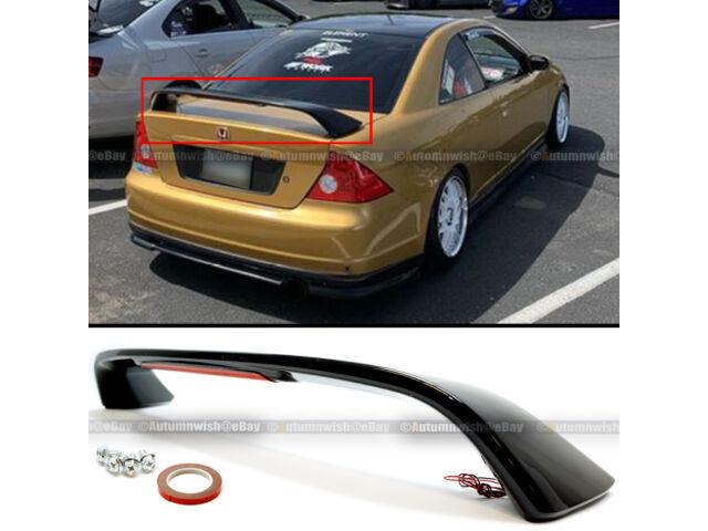 For 01-05 Honda Civic 2DR Glossy Black Trunk Spoiler Wing LED Brake Light Lamp