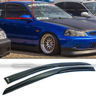 For 96-00 Honda Civic 2DR Coupe Mugen Style 3D Wavy Black Tinted Window Visor