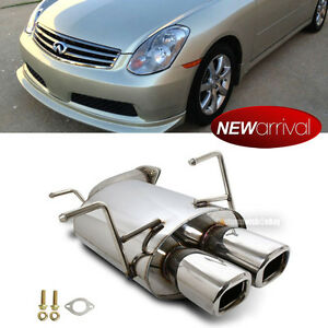 Fit 03-04 G35 4DR Sedan Stainless Steel Bolt On Chrome Axle Back Exhaust Muffler