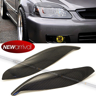 Fit 99 00 CIVIC CARBON PAINT HEADLIGHT COVER EYELID EYEBROW EYE LID BROW