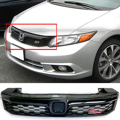 - Fit 2012 Civic 4 Dr Sedan JDM ABS Black Front Bumper Hood Mesh Grille Grill
