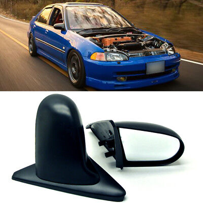 Fit 92-95 Civic 4Dr Sedan Manual Adjustable Spoon Style JDM Side View Mirror