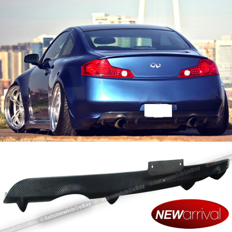 For: 03-07 G35 2DR Carbon Fiber Rear Bumper Diffuser Lip Body Kit Add On