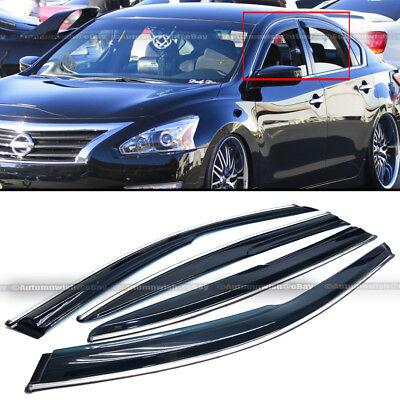 Fit 13-18 Nissan Altima 4 Door JDM Mugen Style 3D Wavy Chrome Trim Window Visor
