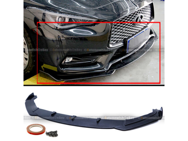 For 17-19 Infiniti Q60 2DR Coupe Polyurethane JDM Front Bumper Lip Splitter Chin