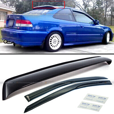 For 96-00 Honda Civic 2DR Coupe Mugen Style Wavy Window Visor + Rear Roof Visor