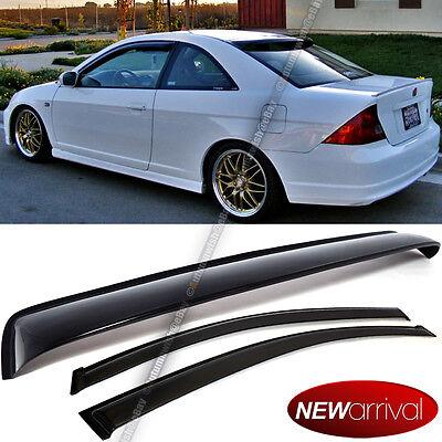 Fit 01-05 Civic 2DR Coupe Acrylic UV Window Visors + Rear Roof Visor Combo