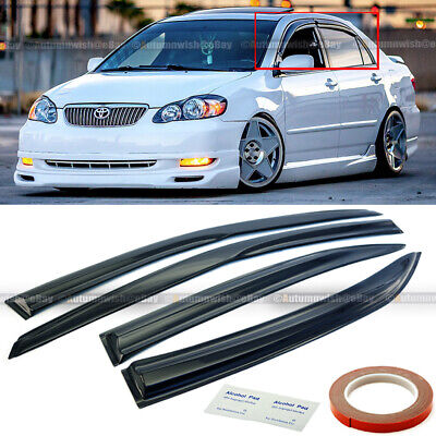 For 03-07 Toyota Corolla  Mugen Style 3D Wavy Black Tinted Window Visor Vent