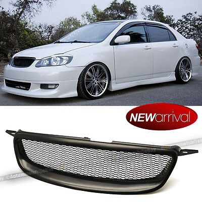 For 03-07 Corolla ABS Glossy Black Metal Mesh Front Hood Grill Grille
