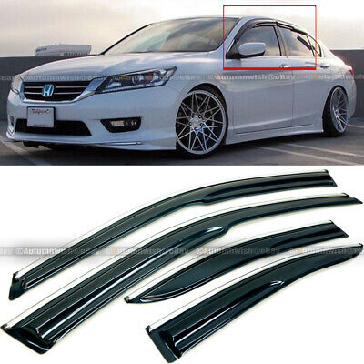 Fit 13-17 Honda Accord 4 Door JDM Mugen Style 3D Wavy Chrome Trim Window Visor