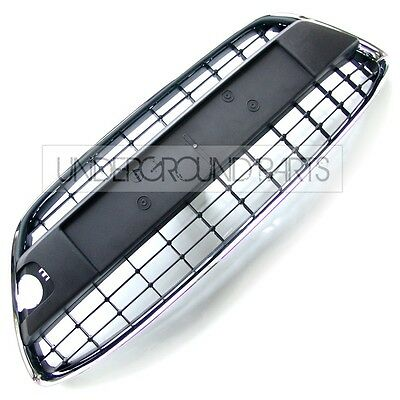 NEW LOWER FRONT BUMPER CENTRE GRILLE PANEL MESH TRIM CHROME SURROUND FIESTA MK7