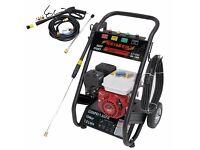 2200PSI 151 BAR Petrol Pressure Washer - 8 Meter Hose - Draws From Drum 1 YR Warranty