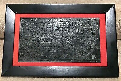 Rare 1950 Vintage Union Pacific Railroad Conn Route Map Printing Plate Poole