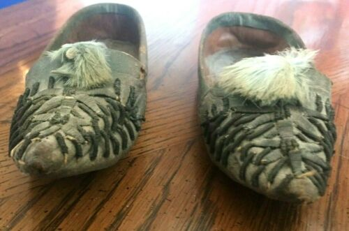 Vintage Hand Stitched Child Size Leather Suede Moccasins. One-of-a-kind.