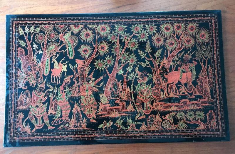 "Incredible Antique Burmese Engraved Lacquer Panel 30"" x 18"" Ramayana Scene"