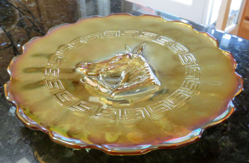 "L G Wright PONY Marigold Carnival Glass Plate 9.25"" c. 1976*"
