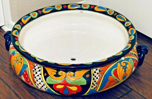 "Talavera Planter Pot Mexican Pottery Round 21"" XX Large Hanging Folk Art"