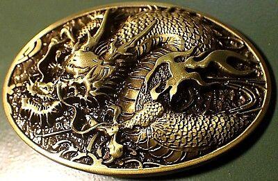 Antique Style Bronze Color - Antique Bronze color DRAGON Western style Belt Buckle Full Metal US seller