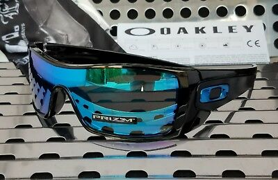 New Oakley BATWOLF 9101-5827 Sunglasses Gloss Black w/ Prizm Sapphire Iridium