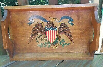 Vintage Style E Pluribus Unum American Eagle Wooden Tray Decor Art - Free Ship