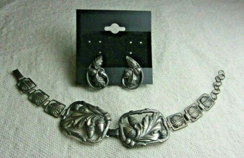 Vintage Antique Signed Sterling Silver Acorns Leaves Bracelet Earrings Set!