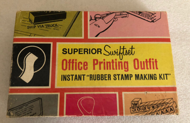 VintageSUPERIOR SWIFT SET OFFICE PRINTING OUTFIT INSTANT RUBBER STAMP MAKING KIT