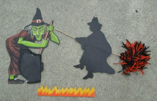 HALLOWEEN LOT with BIESTLE WITCH WITH CREPE PAPER CAULDRON,& WITCH ON BROOM
