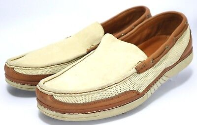 Tommy Bahama Sail Away $102 Men's Slip On Boat Shoes Size 6 Beige Brown