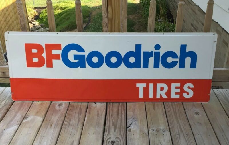"Vintage BF GOODRICH TIRES Advertising Sign UNIROYAL GOODRICH TIRE CO 60""x 21"""