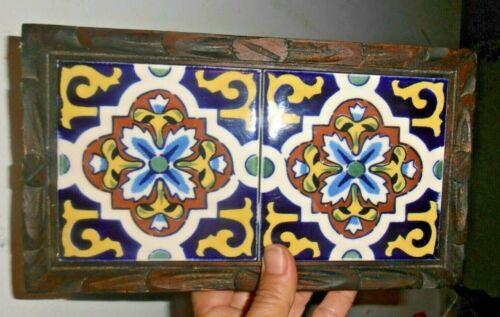 Vintage Wood Framed Dal-Tile Mexico Tile Trivet Hot Plate