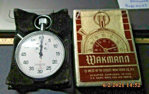 WAKMANN SUPERMETER 7 Jewels Swiss Made Shock Resistant Stopwatch w box NOS