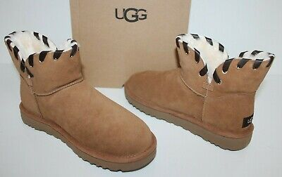 UGG Australia 1019644 CHE 7 Women Aidah Suede Mini Sheepskin Boots Chestnut 7