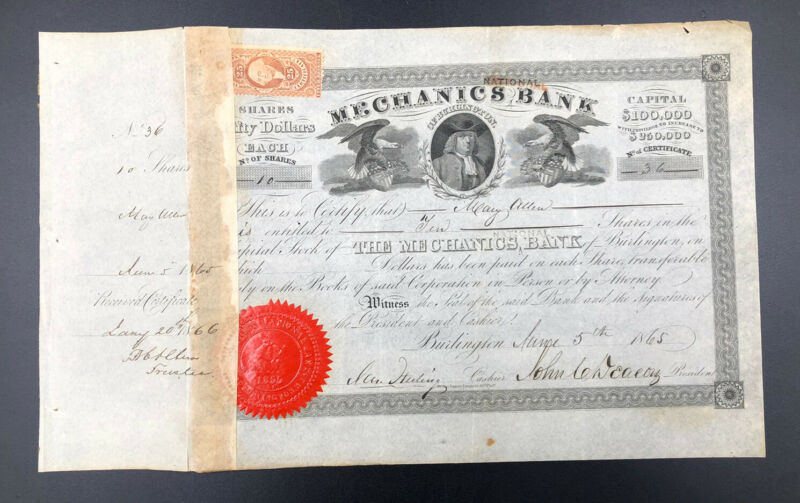 US Mechanics National Bank of Burlington Stock Certificate June 5 1865, Revenue
