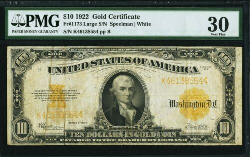 $10 1922 Fr# 1173 Large S/N * GOLD CERTIFICATE * PMG Very Fine 30  VF30