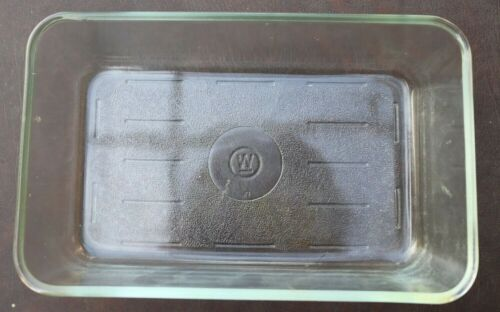 "Vintage Loaf Pan Westinghouse Clear Glass Refrigerator Dish 9"" x 5"" x 3 1/2"" - N"
