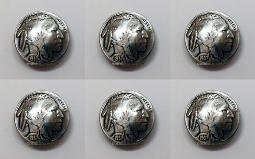 "Set of 6 BUFFALO NICKEL INDIAN HEAD REPRODUCTION COIN CONCHOS 7/8"" screw back"