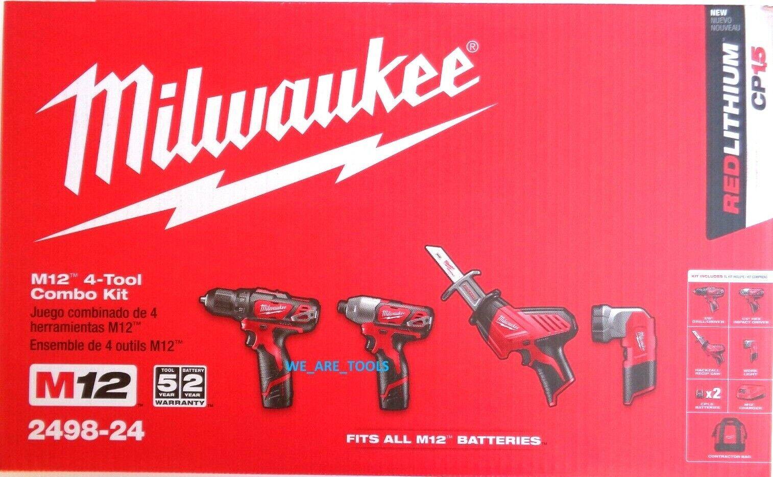 Milwaukee Electric 2498-24 M12 M12 4-Tool Combo Ac/Dc Charge